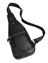 Недорогие -Муж. Мешки Кожа Слинг сумки на ремне Молнии Под крокодила Черный
