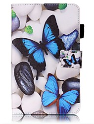 cheap -Case For Samsung Galaxy Tab 4 7.0 Card Holder Wallet with Stand Pattern Auto Sleep/Wake Up Full Body Cases Butterfly Hard PU Leather for