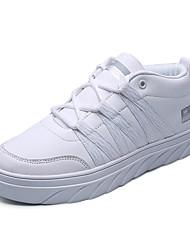 Homens sapatos Micofibra Sintética PU Primavera Outono Conforto Tênis para Casual Branco Preto Branco/Preto