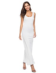 baratos -Mulheres Tamanhos Grandes Bandagem Básico / Boho Delgado Bainha Vestido Côr Sólida Decote U Longo Branco