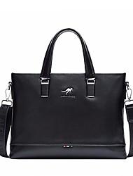 cheap -Men's Bags PU Briefcase Zipper for Office & Career All Seasons Black