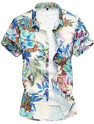 Недорогие -Муж. Рубашка Хлопок Цветочный принт