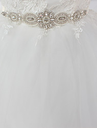 cheap -Satin / Tulle Wedding / Special Occasion Sash With Imitation Pearl / Crystals / Rhinestones Women's Sashes