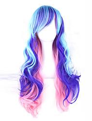 billiga -Syntetiska peruker Vågigt Med lugg Syntetiskt hår Sidodel Blå Peruk 13 cm Utan lock Himmelsblå