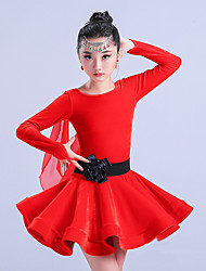 abordables -Danse latine Robes Fille Entraînement Polyester Ruché Manches Longues Taille haute Robe