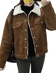 Недорогие -Жен. Повседневные Зима Длинная Куртка Круглый вырез, На каждый день Однотонный Хлопок Акрил Крупногабаритные