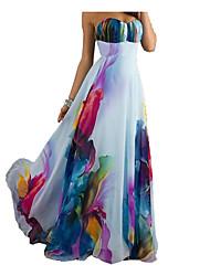 Недорогие -Жен. На каждый день Оболочка Платье - Цветочный принт, Открытая спина Завышенная Без бретелей Макси