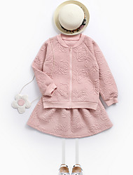 cheap -Girls' Daily Solid Colored Clothing Set, Polyester Spring Long Sleeves Simple Blushing Pink