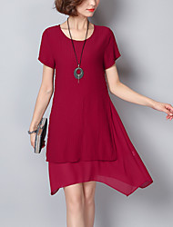 abordables -Femme Grandes Tailles Ample Ample Robe - Fendu, Couleur Pleine Rayé Asymétrique