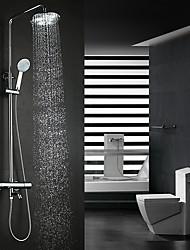 abordables -Moderne Montage mural Douche pluie Thermostatique Soupape céramique Deux poignées Deux trous Chrome, Robinet de douche