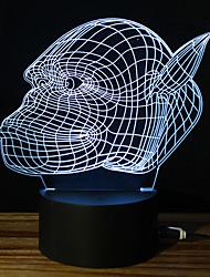 Недорогие -1 комплект 3D ночной свет DC Powered Стресс и тревога помощи / Меняет цвета / С портом USB 5 V