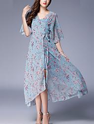 abordables -Femme Mousseline de Soie Balançoire Robe - Imprimé, Fleur
