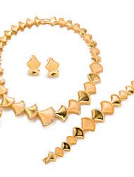 baratos -Mulheres Chapeado Dourado Formato de Folha Conjunto de jóias 1 Colar / 1 Bracelete / 1 Anél - Importante / Fashion Dourado Conjunto de