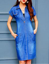 preiswerte -Damen Jeansstoff Kleid - Grundlegend, Solide V-Ausschnitt