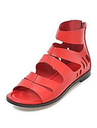 baratos -Mulheres Sapatos Courino Verão Conforto Sandálias Sem Salto Dedo Aberto Roxo Claro / Vermelho / Rosa claro