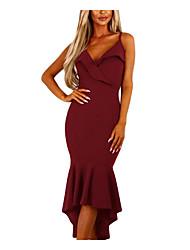 Недорогие -Жен. Облегающий силуэт / Русалка Платье - Сплошной цвет, Оборки Завышенная V-образный вырез / На бретелях / Без бретелей Средней длины /