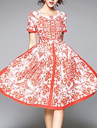 Dame Vintage Sommerfugleærmer A-linje Kjole - Blomstret, Flettet Trykt mønster Knælang