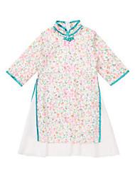 abordables -Robe Fille de Quotidien Fleur Rayonne Printemps Demi Manches Manches 3/4 simple Chinoiserie Bleu