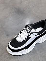 baratos -Mulheres Sapatos Borracha Primavera Conforto Tênis Sem Salto Ponta Redonda para Ao ar livre Branco/Preto