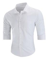billige -Herre - Ensfarvet Bomuld / Polyester Basale / Kineseri Plusstørrelser Skjorte