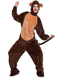 abordables -Mono Pijamas de una pieza Disfraz Pleuche Marrón Cosplay por Adulto Ropa de Noche de los Animales Dibujos animados Víspera de Todos los