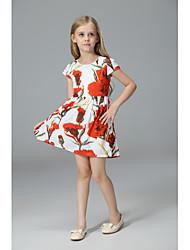 abordables -Robe Fille de Quotidien Ecole Fleur Imprimé Jacquard Coton Acrylique Polyester Printemps Eté Sans Manches Rétro Décontracté Rouge