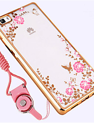 cheap -Case For Huawei P8 Lite Shockproof Rhinestone Back Cover Flower Soft Silicone for Huawei P8 Lite