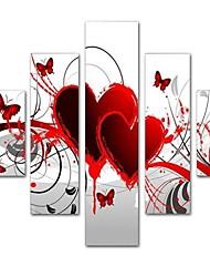 Недорогие -styledecor® современная ручная роспись абстрактные пять частей картины маслом холст картины любви для настенного искусства на обернутом холсте