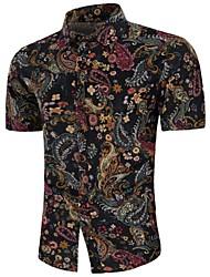 Недорогие -Муж. С принтом Большие размеры - Рубашка Лён Богемный Геометрический принт / С короткими рукавами