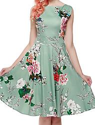 Dame A-linje Skede Kjole - Blomstret, Basale