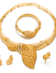 cheap -Women's Gold Plated Jewelry Set 1 Necklace 1 Bracelet 1 Ring Earrings - Statement Fashion Circle Jewelry Set For Wedding Party