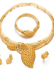 preiswerte -Damen , vergoldet Schmuck-Set Einschließen 1 Halskette 1 Armreif 1 Ring Ohrringe - Erklärung Modisch vergoldet Kreisform Schmuckset Für
