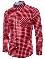 Недорогие -Муж. С принтом Рубашка Классический Геометрический принт / В клетку / Шахматка