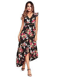 cheap -Women's Cute Butterfly Sleeve Loose Swing Dress - Floral, Backless High Waist Maxi Asymmetrical V Neck