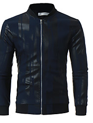cheap -Men's Ordinary Leather Jacket-Solid Colored Stand