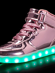 cheap -Boys' / Girls' Shoes PU Spring Comfort / Light Up Shoes Sneakers Walking Shoes Lace-up / Hook & Loop / LED for Silver / Blue / Pink