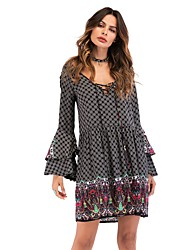 cheap -Women's Beach Basic / Boho Flare Sleeve Loose Loose Dress - Houndstooth Cut Out / Print High Waist V Neck / Spring / Summer