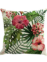 cheap -1 pcs Cotton/Linen Pillow Case Novelty Pillow Pillow Cover, Floral Fashion Novelty Flower Tropical