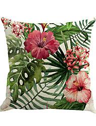 abordables -1 pcs Coton / Lin Housse de coussin / Nouveaux Oreillers / Taie d'oreiller, Fleur / Nouveauté / Mode Fleur / Tropical