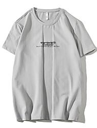Homens Camiseta Básico Moda de Rua Estampado, Sólido Letra