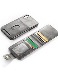billige -Etui Til Apple iPhone X / iPhone 8 Plus Pung / Kortholder / Med stativ Bagcover Ensfarvet Hårdt PU Læder for iPhone X / iPhone 8 Plus / iPhone 8
