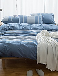 cheap -Duvet Cover Sets Lines / Waves 4 Piece Poly/Cotton 100% Cotton Yarn Dyed Poly/Cotton 100% Cotton 1pc Duvet Cover 2pcs Shams 1pc Flat Sheet