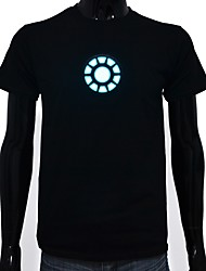 cheap -LED T-shirts Glow Pure Cotton LED Casual 2 AAA Batteries