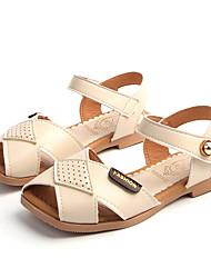 Недорогие -Девочки Обувь Полиуретан Кожа Лето Удобная обувь Сандалии На липучках для Повседневные Для праздника Бежевый Красный Розовый