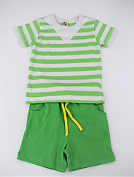 cheap -Boys' Daily Striped Color Block Clothing Set, Cotton Summer Short Sleeves Simple Casual Green Yellow