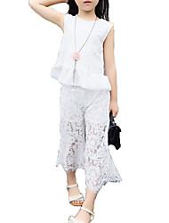 abordables -Fille Quotidien Vacances Couleur Pleine Imprimé Ensemble de Vêtements, Polyester Eté Sans Manches Basique Sophistiqué Blanc Noir