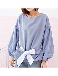 voordelige -Dames Standaard Overhemd Gestreept Ruimvallend Lantern Sleeve