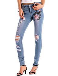 cheap -Women's Active Jeans Pants - Solid Colored Floral