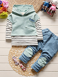 cheap -Boys' Daily School Solid Striped Patchwork Clothing Set, Cotton Spring Fall Long Sleeves Simple Gray Light Blue