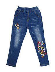 cheap -Girls' Daily Solid Print Jeans, Cotton Polyester Spring Fall Sleeveless Vintage Casual Blue